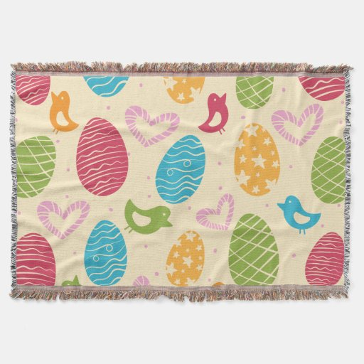Easter throw blanket with colourful Easter eggs