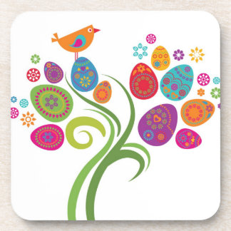 Easter tree with colored eggs and flowers coaster