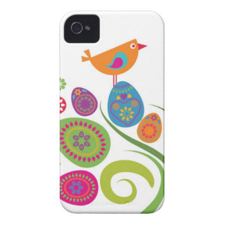 Easter tree with colored eggs and flowers iPhone 4 Case-Mate cases