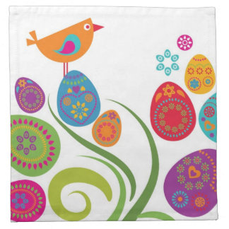 Easter tree with colored eggs and flowers napkin