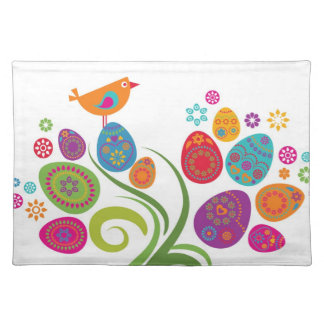 Easter tree with colored eggs and flowers placemat