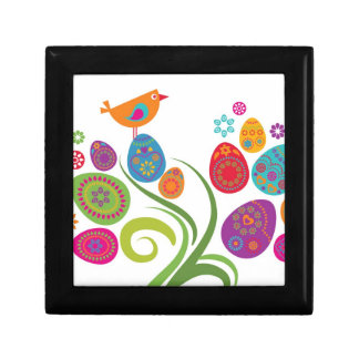 Easter tree with colored eggs and flowers small square gift box