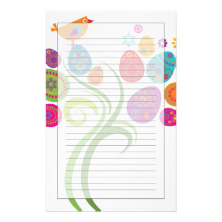 Easter tree with colored eggs and flowers stationery
