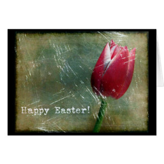 Easter Tulip Grunge Greeting Card