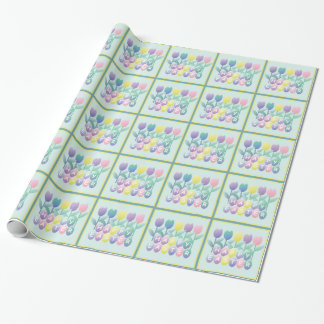 Easter Tulips Eggs Happy Easter Wrapping Paper