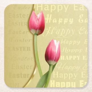 Easter Tulips Gold Typography - Paper Coaster