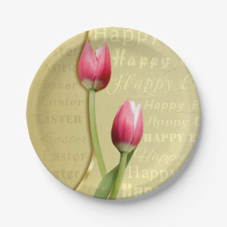 Easter Tulips Gold Typography - Paper Plate