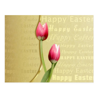 Easter Tulips Gold Typography - Postcard