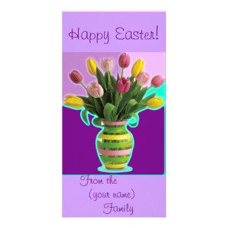 Easter Tulips - Happy Easter Card Custom Photo Card