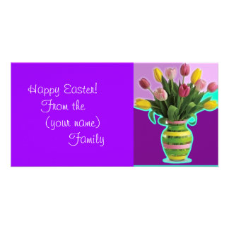 Easter Tulips - Happy Easter Card Customised Photo Card