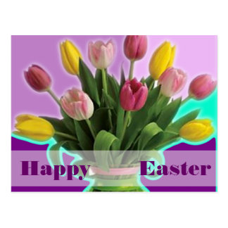 Easter Tulips - Happy Easter Post Card