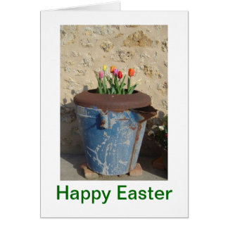 Easter Tulips in Blue Tub Greeting Card