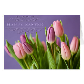 "Easter - ""Tulips"" with ""Happy Easter"" Word Art Greeting Card"