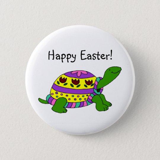 Easter turtle 6 cm round badge