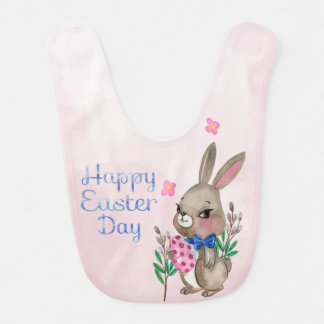Easter - Watercolor Bunny & Eggs (2) Bib