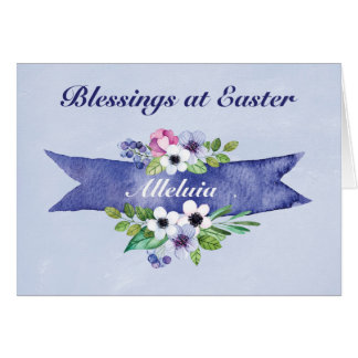 Alleluia easter gifts t shirts art posters other gift ideas easter watercolor floral banner religious card negle Gallery