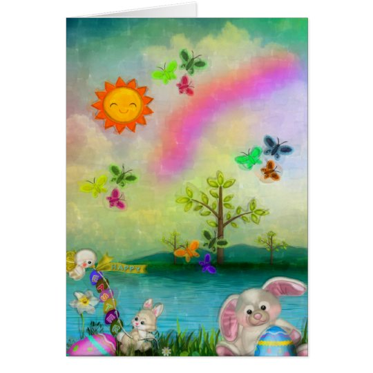 Easter Whimsey CUSTOM Greeting Folk Art Card