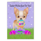 Easter With Little Chihuahua With Easter Basket Card