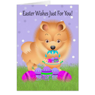 Easter With Little Pomeranian With Easter Basket Card