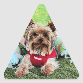 Easter - Yorkshire Terrier - Sassy Triangle Sticker