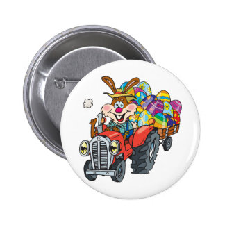 EasterB18 tractor bunny 6 Cm Round Badge