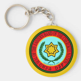 Eastern Band Of The Cherokee Seal Basic Round Button Key Ring