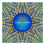 Eastern Blue Sun Sparkle  Monogram Invitation