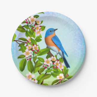 Eastern Bluebird in Apple Blossoms Paper Plates