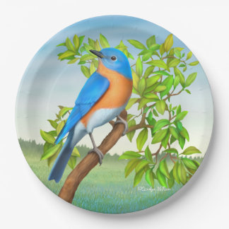 Eastern Bluebird in Tree Paper Plates