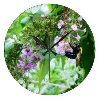 Eastern Carpenter Bee on Salvia flower Large Clock
