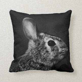 Eastern Cottontail Bunny Rabbit, Black and White Throw Pillow