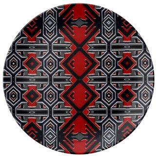 Eastern geometric designer porcelain plate