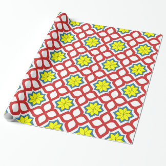 Eastern geometric floral design wrapping paper