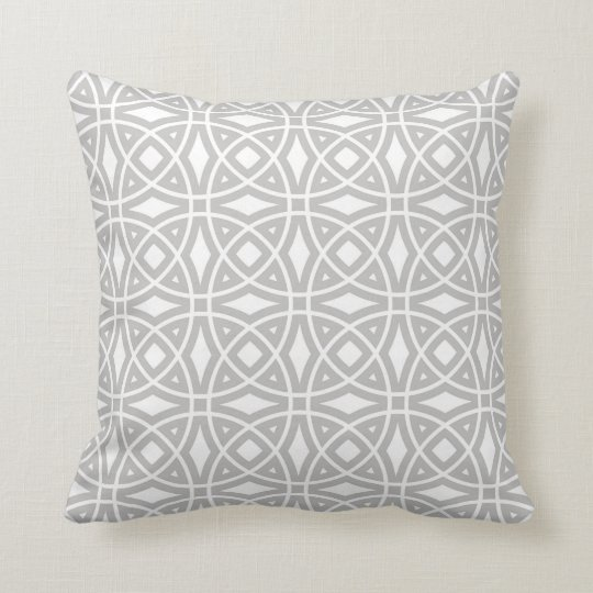 Eastern Geometric Pattern in Grey and White Cushion