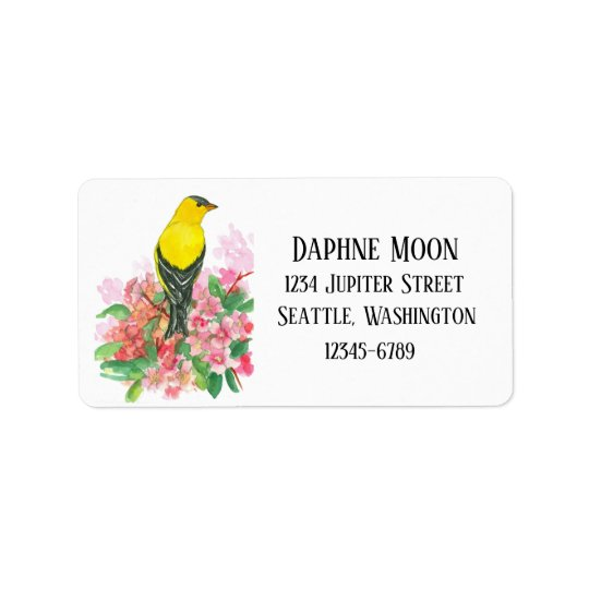 Eastern Goldfinch Pink Rhododendron Label