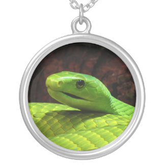 Eastern Green Mamba Dendroaspis Angusticeps Round Pendant Necklace