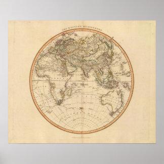 Eastern Hemisphere Circular Map Poster
