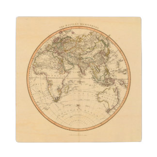 Eastern Hemisphere Circular Map Wood Coaster