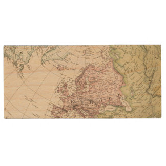 Eastern Hemisphere of Europe Wood USB 2.0 Flash Drive