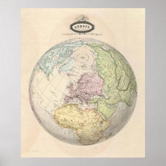 Eastern Hemisphere of Europe Poster
