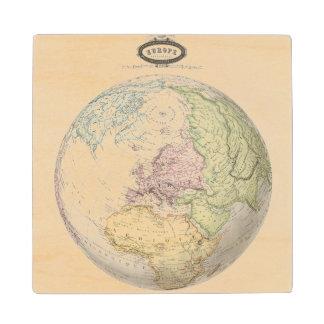 Eastern Hemisphere of Europe Wood Coaster