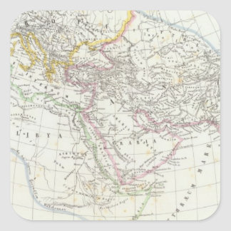 Eastern Hemisphere World Lithographed Map Square Sticker