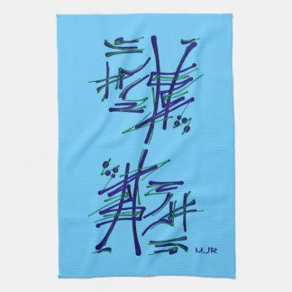Eastern Pictograms - Blues, Greens - Monogram Tea Towel
