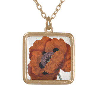 Eastern Poppy Gold Plated Necklace