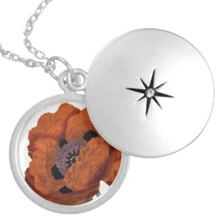 Eastern Poppy Silver Plated Necklace