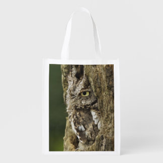 Eastern Screech Owl Gray Phase) Otus asio, Reusable Grocery Bag