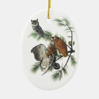 Eastern Screech Owl, John Audubon Christmas Ornament