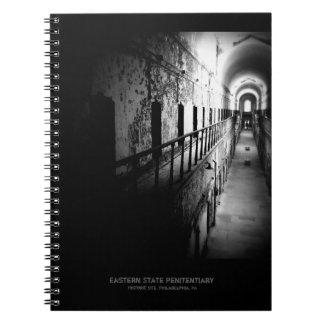 Eastern State Penitentiary Corridor - B&W Spiral Notebook