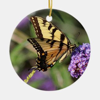 Eastern tiger swallowtail butterfly profile round ceramic decoration