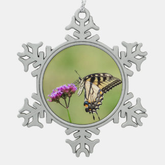 Eastern Tiger Swallowtail Butterfly Snowflake Pewter Christmas Ornament